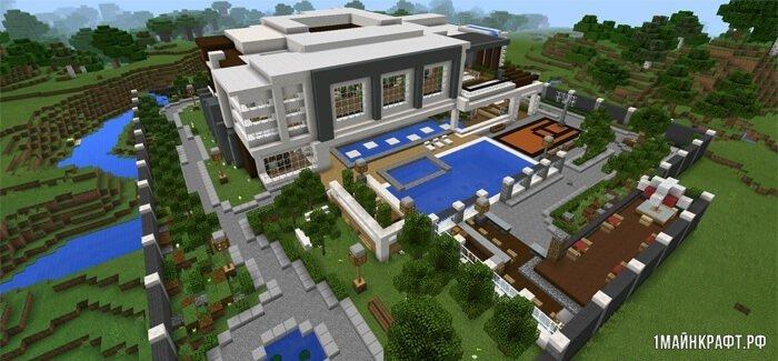 Карта современный дом для Minecraft pe 1.0 / 0.17.0